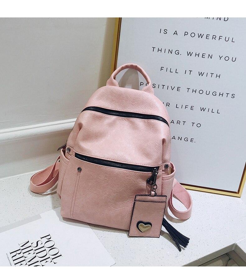 HTB1TRVocMmH3KVjSZKzq6z2OXXaE Women Leather Backpack Teenage Girls School Bag Female Vintage Large Solid Soft Backpacks Mochila Black Back Pack Bags New XA86H
