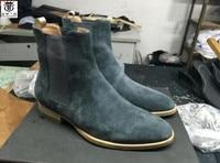 FR.LANCELOT 2020 ON SALE men's boots pointed toe suede leather chelsea boots slip on big discount men boots med heel booties