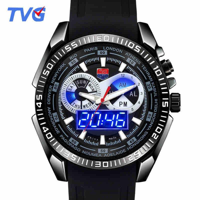 Digital Quartz Dual Time Display Men s Wristwatch Military Night Light Rubber Strap Waterproof Shock Dust