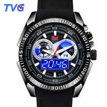 Цифровые Кварцевые Dual Time Display мужской Наручные Часы Военные Night Light Каучуковый Ремешок Водонепроницаемый Шок Пыли Световой