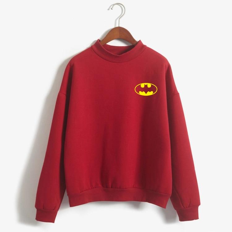 Plus Size Women Hoodies&Sweatshirts Winter Thick Warm Cotton Fashion Harajuku Female Kawaii Cartoon Batman Print Casual Pullovr