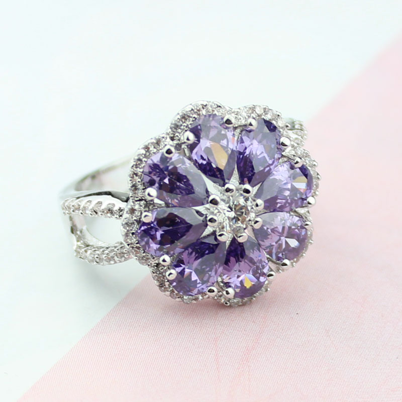 Inlay elegant pure purple Crystal rings Clear CZ stone secret wedding rings Cubic Zirconia for woman graceful Engagement ring
