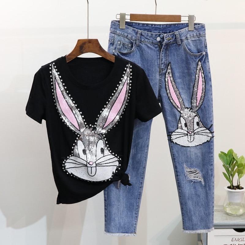 De Lapin shirt Pantalon Dessinée Dames Été Printemps Denim Lot Bande White Ensembles Trou T Jeans Nouveau Twopiece noir Diamant Filles Paillettes Manches Courtes X64wCq