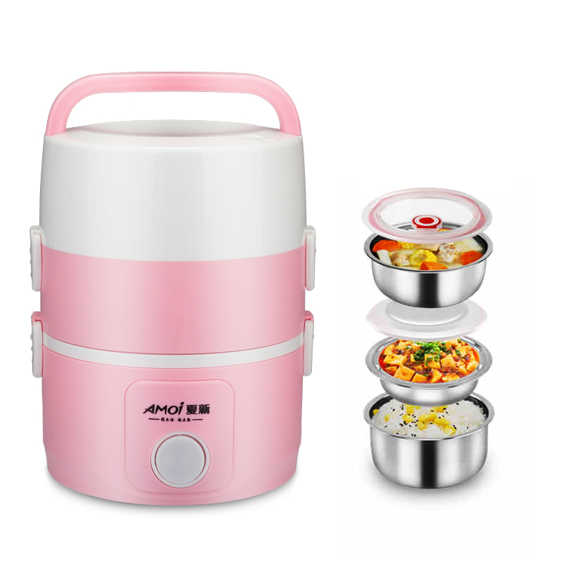 Electric Lunchbox Rice Cooker Portable Three Layers Plug In Hot Meal Seal Cooking Rice Cooker 1.8L 1-2 People electric digital multicooker cute rice cooker multicookings traveler lovely cooking tools steam mini rice cooker