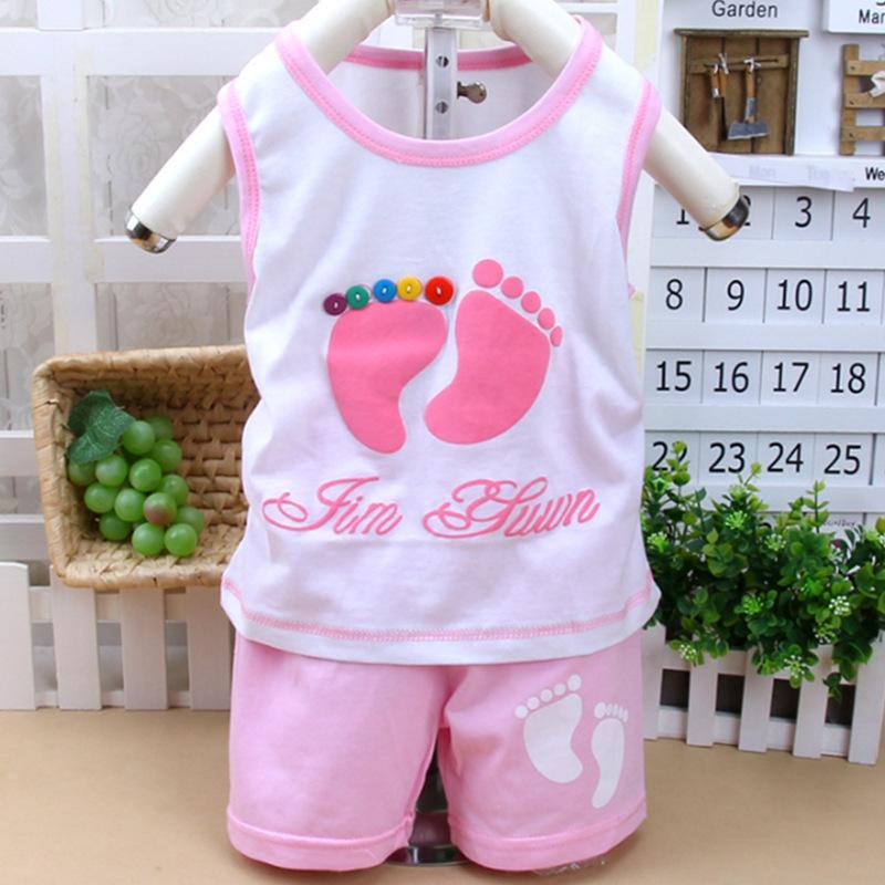Padrão pés pequenos das crianças colete de algodão terno crianças conjunto de roupas para o bebê das meninas do menino