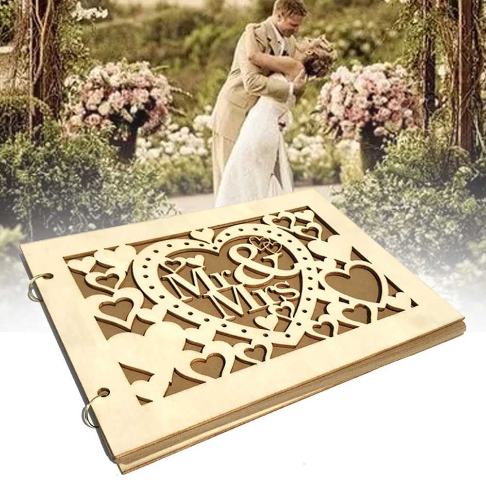 Signature Book Party Supplies Hollowed Photo Letters Event 20 Pages Gift DIY Table Decoration Wedding Guest MR MRS Wooden(China)
