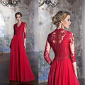 Elegant Red Lace Appliques Long Evening Dresses 2017 V-Neck 3/4 Sleeve Party Formal Dress Customize Pregnant Evening Gowns