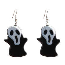 Creative Cartoon Ghost Witch Acrylic Hanging Drop Earrings for Women Girls Punk Skull Halloween Jewelry Accessories