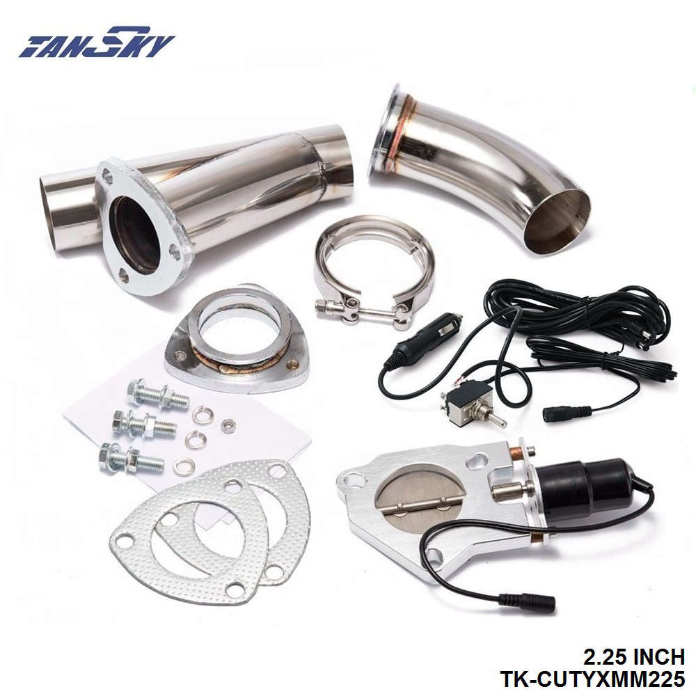 Tansky 2 25 inch electric exhaust dumps cutout 2 25 inch piping switch for ford focus
