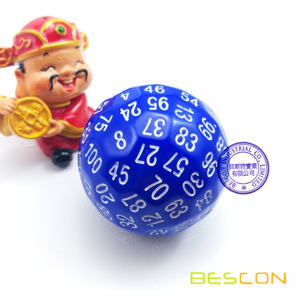 Bescon Polyhedral Dice 100 Sides Dice, D100 die, 100 Sided Cube, D100 Game Dice, 100-Sided Cube of Blue Color image