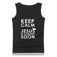New Keep Calm JESUS is coming Fashion Summer Tank Top Men Sleeveless Shirt and Christian Men Vests Plus Size XXS 4XL