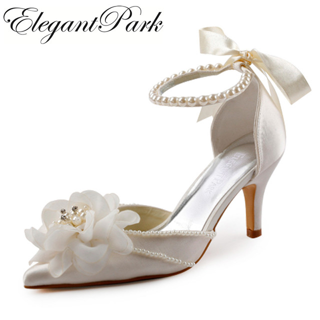Woman Shoes for wedding EP11052 Ivory pointed Toe High Heel Flowers Pearl Ankle  Strap Women s Bridal Wedding Shoes Women Pumps f1b4e04f2032