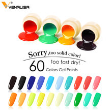 180 Solid Colors Nail Art Designs VENALISA 2019 Hot Sale Soak Off Paint Gel UV LED Ink Color Paint Gel Nail Varnish Gel Lacquer(China)