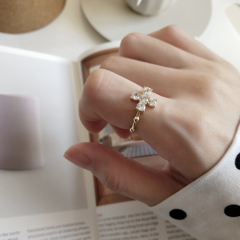 LouLeur 925 Sterling Silver Round Bead Zircon Cross Rings Gold Creative Fairy Female Open Rings 925 Silver Fine Jewelry Gift