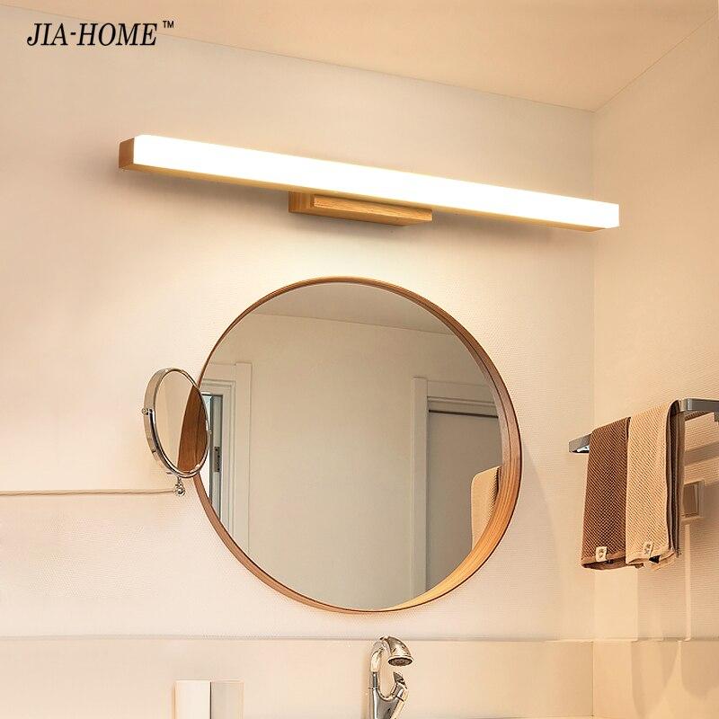 Mur LED lampe minimalisme miroir avant lumière salle de bain maquillage appliques murales moderne en bois appliques luminaire