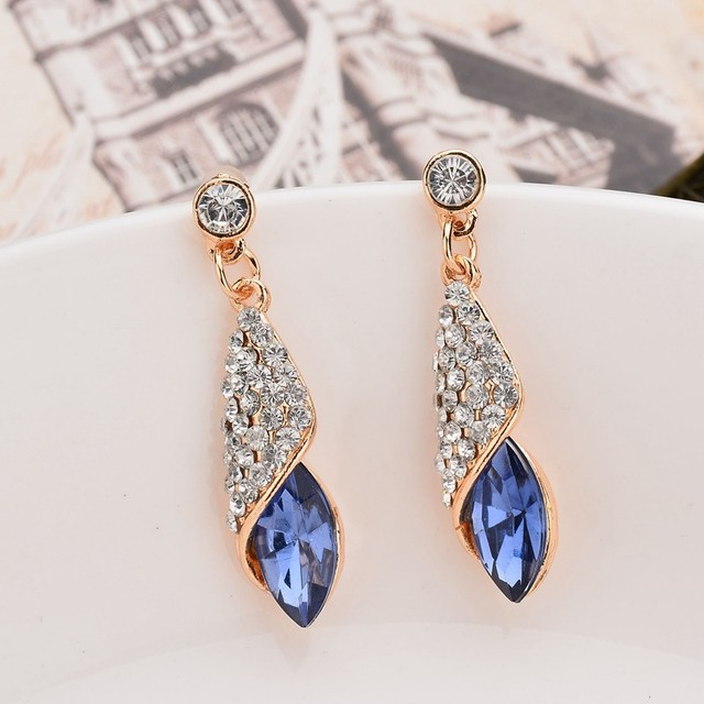 Fashion Brand Alloy Gold Colors Statement Austria Blue Crystal Long Earrings Rhinestone Water Drop Elegant Earring Jewelry 5