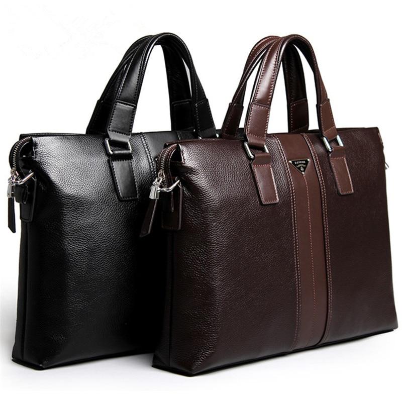 P.kuone Brand Designer Men Handbags Shoulder Bag Leather Luxury Briefcase Messenger Bags For Men Business Casual Mens Laptop Bag