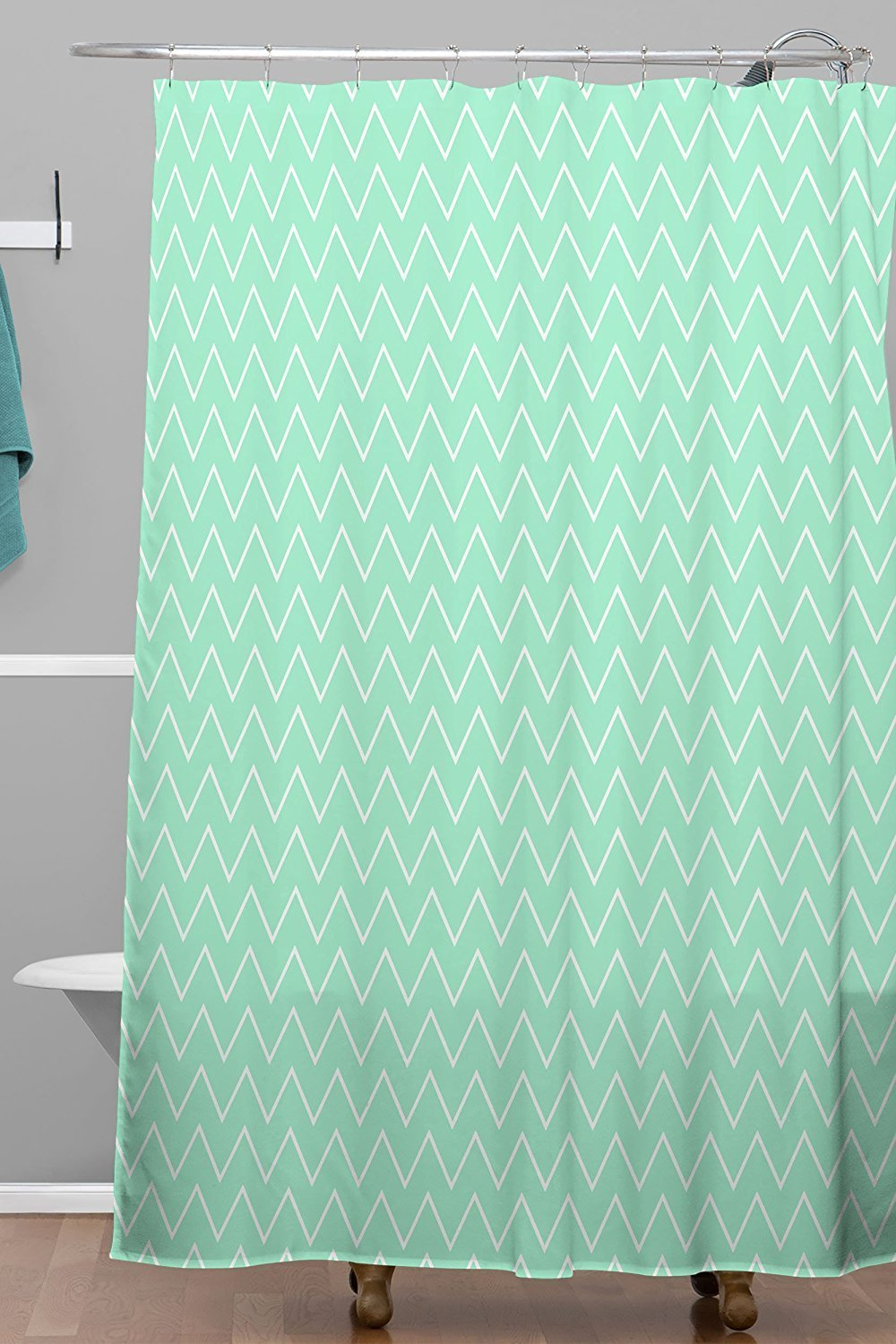 Memory Home Classic Mint Shower Curtain Fabric Polyester Waterproof Bathroom 70x72inch Green Striped