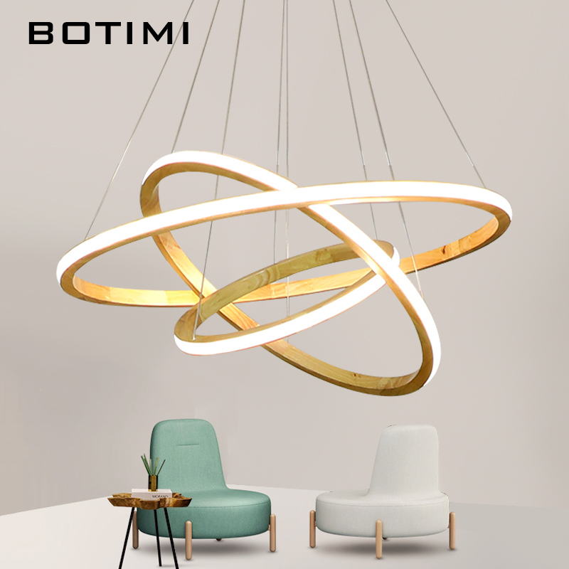BOTIMI 220V LED Pendant Lights For Dining Wooden Rings Pendant Lamp Hotel Suspension Lamp Foyer Wood Light Hall Lighting Fixture brass half round ball shade pendant light led vintage copper wooden lighting fixture brass wood fabric wire pendant lamp