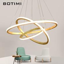 BOTIMI 220V LED Pendant Lights For Dining Wooden Rings Pendant Lamp Hotel Suspension Lamp Foyer Wood Light Hall Lighting Fixture цена в Москве и Питере