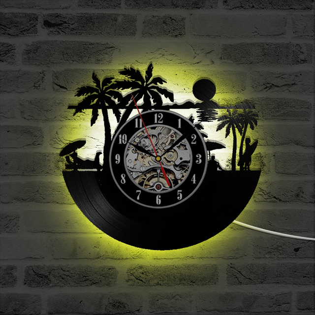 Beach views laser etched vinyl lp record led lighting wall clock 3d beach views laser etched vinyl lp record led lighting wall clock 3d decorative record clock creative aloadofball Gallery