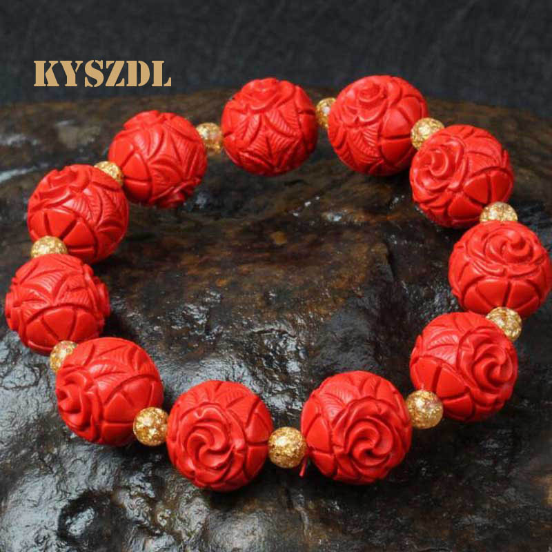 KYSZDL Ethnic style Natural cinnabar Rose Bracelet Ensure the safety of evil be very choosy