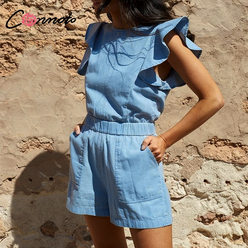 Conmoto Casual High Street Short Jean   jumpsuit   Women 2019 Summer Ruffle High Waist Rompers Girl Beach Holiday   Jumpsuit   Plus Size
