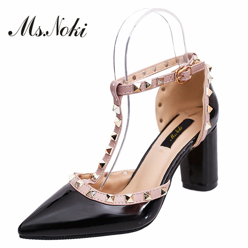 Ms. Noki new spring fashion novelty rivet women high heel pumps pointed toe lady wedding shoes T-strap square heel female pumps ms noki elegant silver new 2017 thin heel pointed toe women shoes sexy party dress fashion shoes comfortable sweet shoes hot