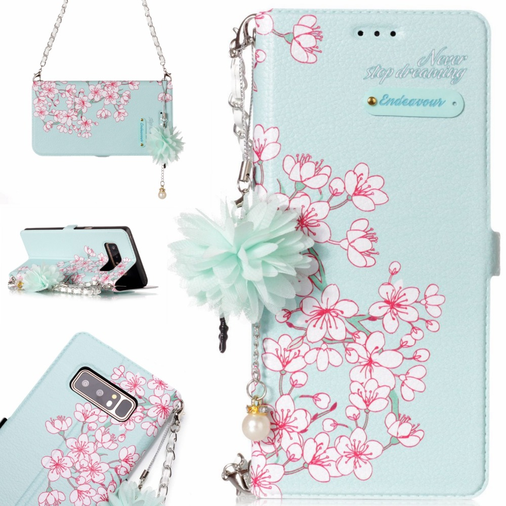 Go2linK Luxury Painting Red flower leather Phone Case For samsung galaxy note 8 6.3inch Flip Wallet Shoulder Chain Cover