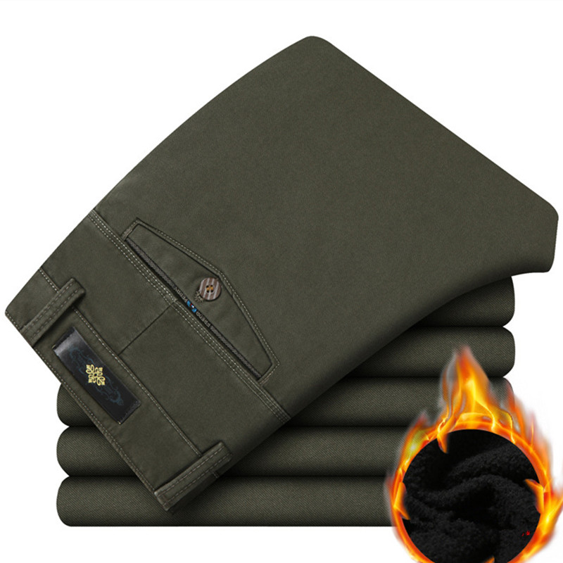 2020 Warm Fleece Winter Pants Men Thicken Smart Casual Long Trousers Brand Clothing Khaki Army Green Pants For male 201