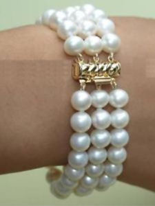 Graceful 3 rows 7-8mm white freshwater pearl bracelet