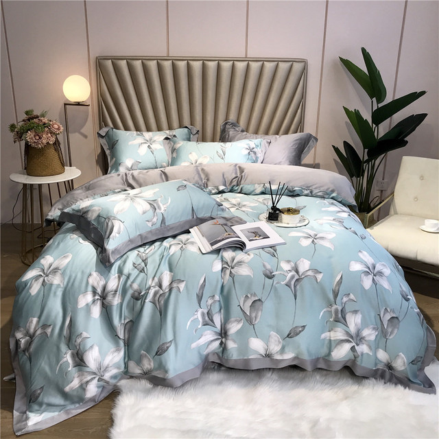 Luxury Bedding Set soft Tencel Bed Linens Bed Sheet Set printed Bedclothes Queen/King Size Bed cover 4pcs