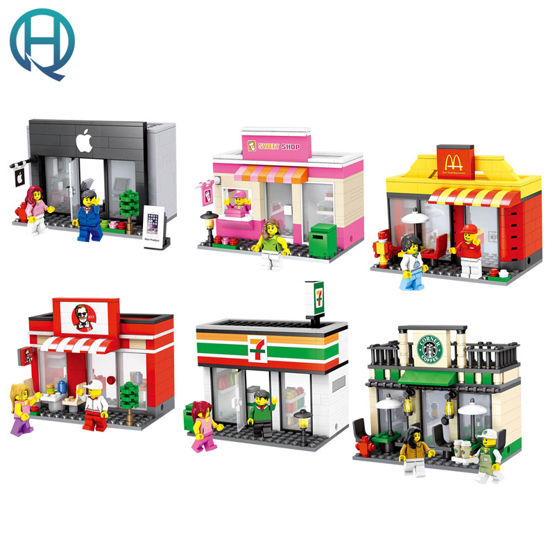 HSANHE City Series Mini Street Convenience Store Coffee Store DIY Model Building Blocks Bricks Educational Toys for Children kid ninjago juguetes military series armed helicopter blocks decool plastic diy educational bricks building model toys for children