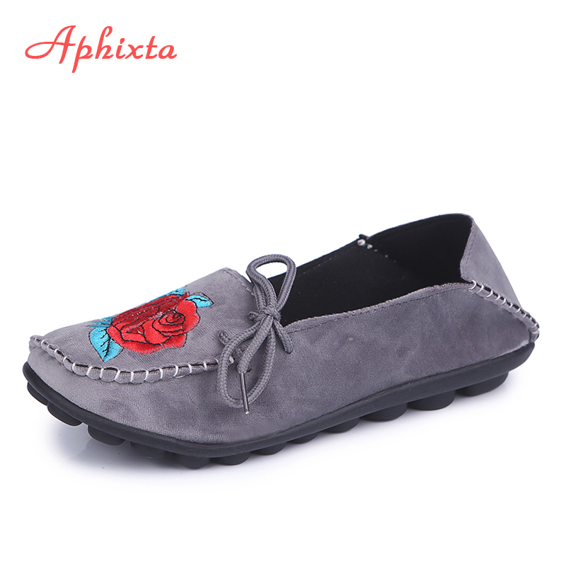 Aphixta Loafers Women Flats Heel Soft leather Shoes Woman Spring Round Toe Female Ladies Shoes Casual Slip On Shoes Plus Size 44 flat shoes women pu leather women s loafers 2016 spring summer new ladies shoes flats womens mocassin plus size jan6