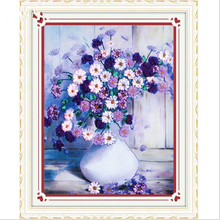 Needlework,DIY Ribbon Cross stitch Sets for Embroidery kit,Vase flower love ribbon Cross-Stitch Counted Painting wall home decor