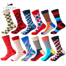LIONZONE 12Pairs/Lot Men Funny Colorful Combed Cotton Dozen Pack Casual Happy Socks
