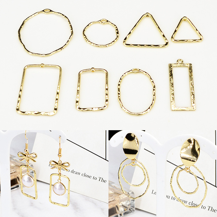 6pcs/lot Rectangle Round Oval  Metal Frame DIY Charms Necklace Bracelet Earrings Connectors Pendants Jewelry Findings