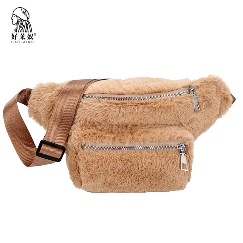 Women Waist Bag Luxury Zipper Fur Fanny Pack Casual Winter Female Travel Chest Bag Fashion Shoulder Handbags Girl Waist Pack цена