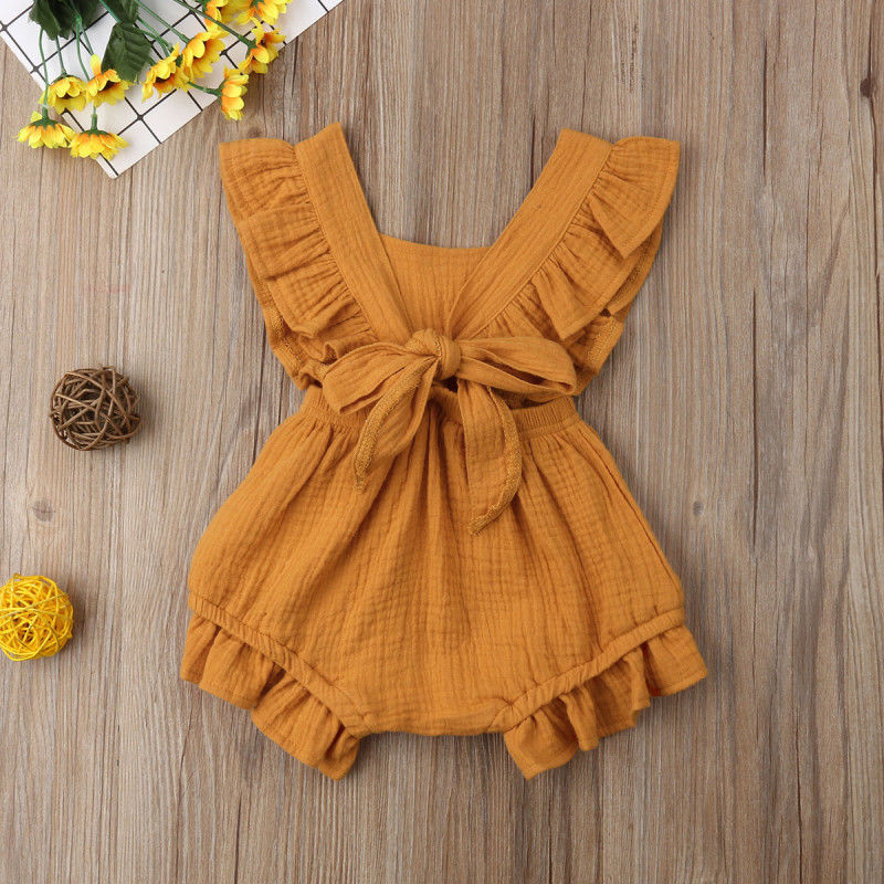 Newborn Baby Girls Ruffle Sleeveless Romper  Jumpsuit Outfits