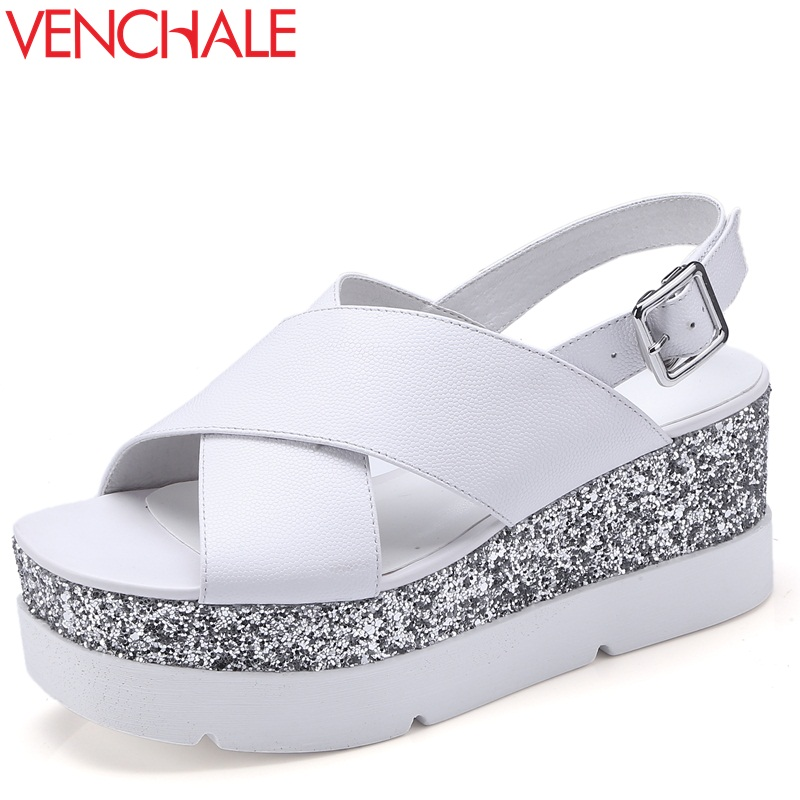 VENCHALE women shoes 2018 summer new sandals heel height 7 cm two colors wedges platform casual sandals genuine leather shoes venchale 2018 summer new fashion sandals wedges platform women shoes height heel 10 cm buckle strap casual cow leather sandals