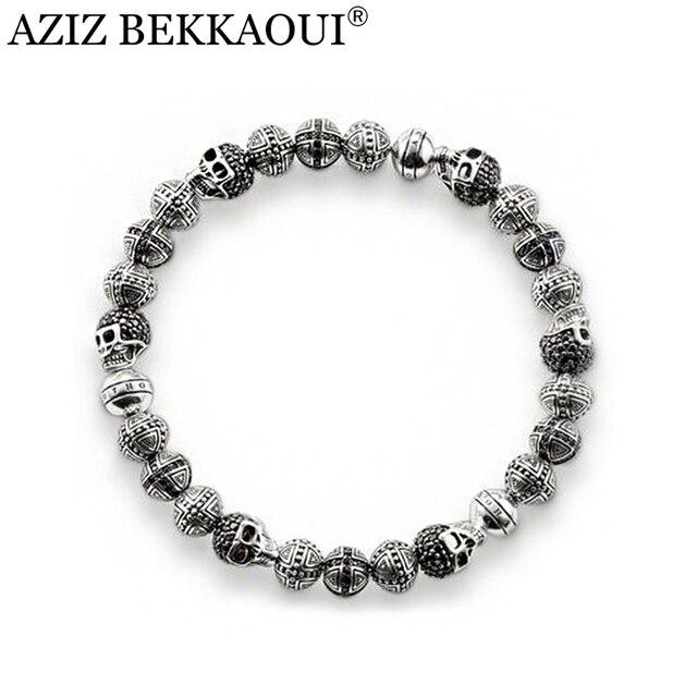 22 СМ урожай посеребренная бисера браслеты для мужчин diy хрустальный крест skulll шарм браслеты для женщин рок панк мужчины ювелирные изделия