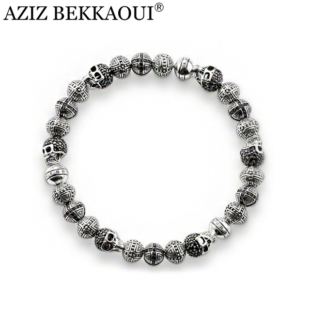 22CM vintage silver plated beaded bracelets for men diy crystal cross skulll charm bracelets for women rock punk men jewelry