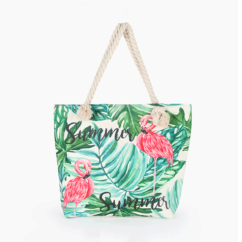 5PCS LOT Printed Shopping Bag Women Canvas Beach Bags New Fashion Female Single Shoulder Handbags Ladies Tote in Shopping Bags from Luggage Bags