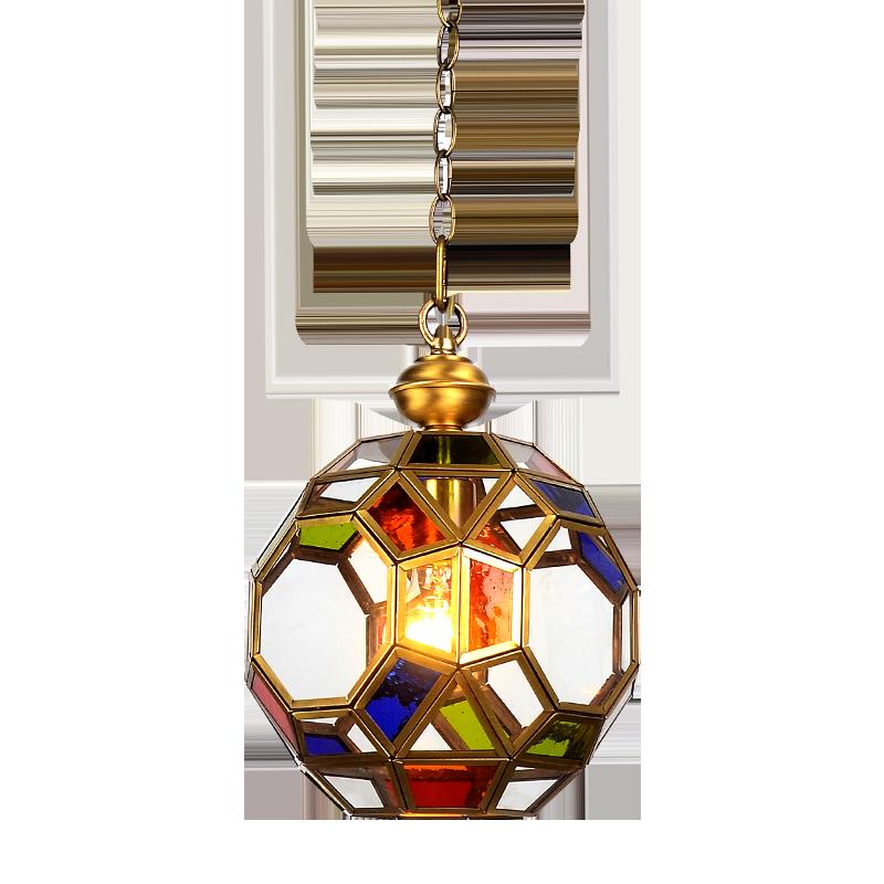 Suspension en verre multicolore 1 lumière unique mini lampe en laiton de luxe petit globe luminaire suspendu en cuivre