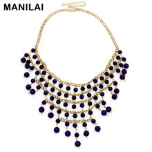 MANILAI New Arrival Exaggerated Multilevel Cross Acrylic Beads Tassels Pendants Choker Necklaces CE960(China)
