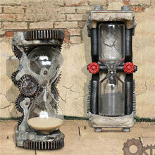 Machinery Water Pipe Gear Hourglass Industry Model Bar  Villa Sand Clock Decor Resin Drawing Ornaments Hourglass