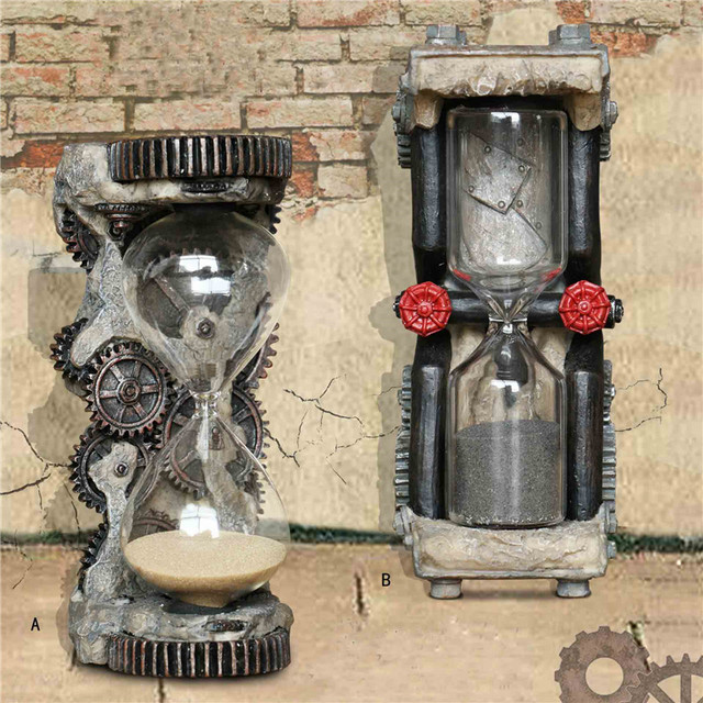 Machinery Water Pipe Gear Hourgl Industry Model Bar Villa Sand Clock Decor Resin Drawing Ornaments