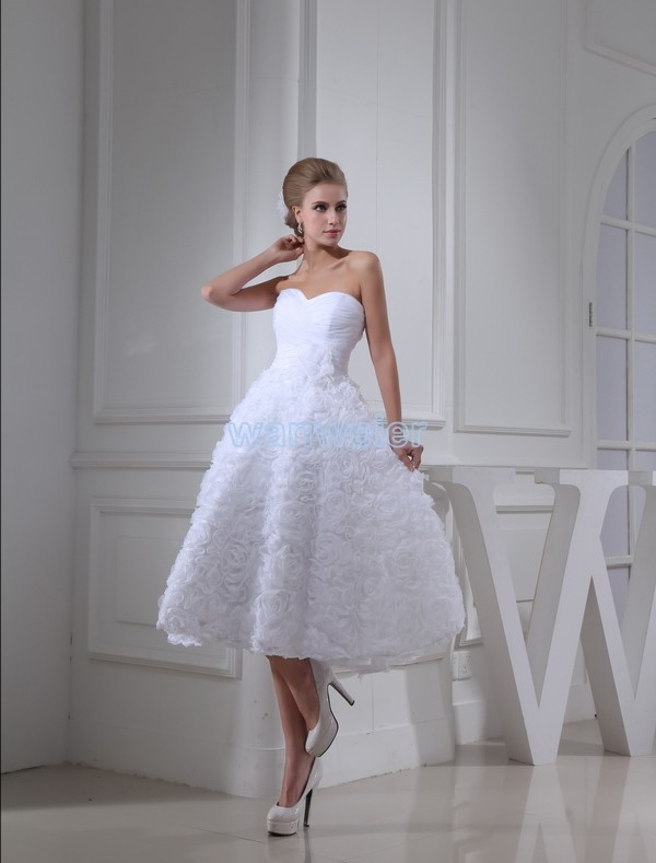 free shipping weddings 2016 new design fashion bride sweetheart custom size/color handmade flowers white short   prom     dresses
