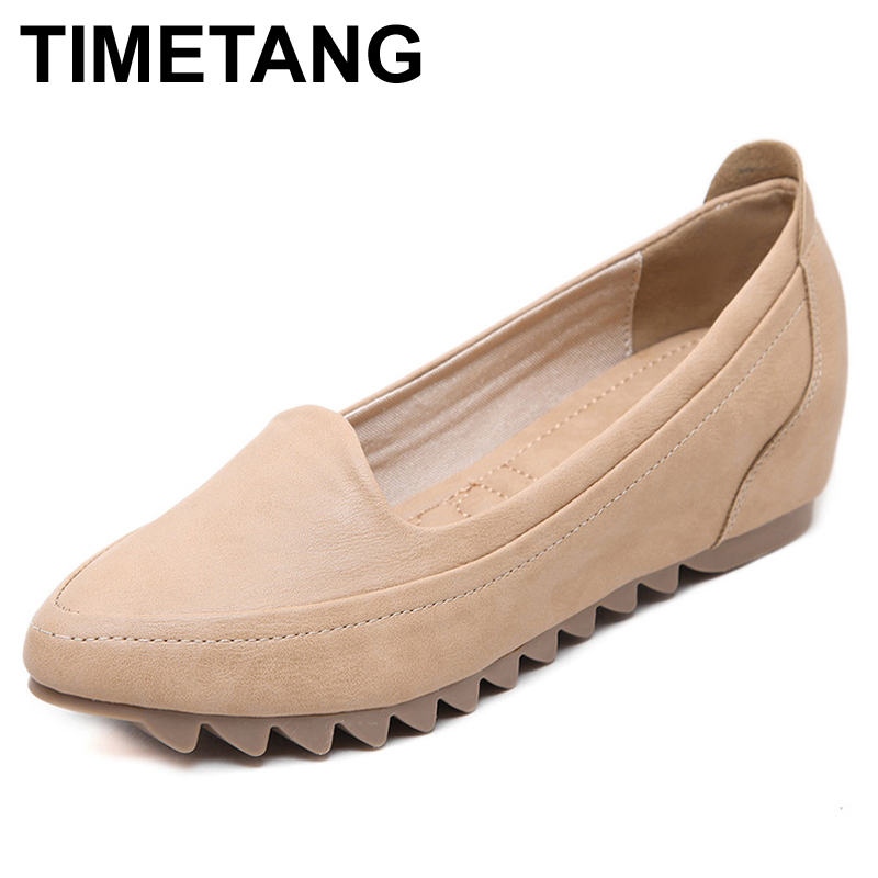 TIMETANG Size 33 42 Newly Spring Autumn Woman Microfiber Leather Shoes Fashion Lady Leather Shoes Soft