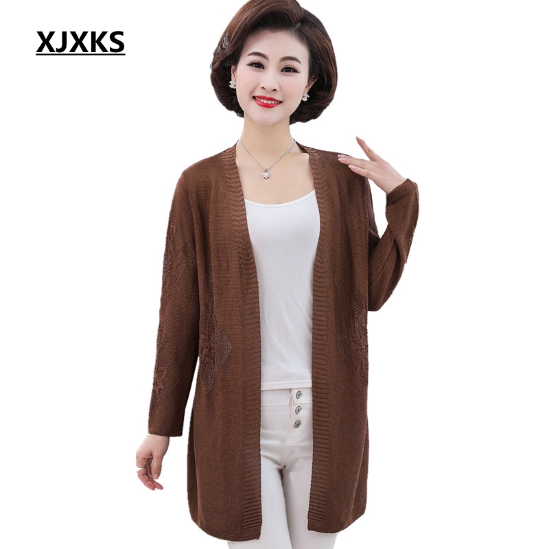 XJXKS Casual Knitting Long Cardigan Female Loose Sweaters Plus Size Knitted Jumper Breathable Women Sweater Cardigan